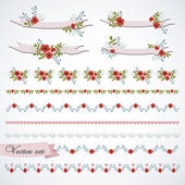Vintage vector set with small flowers — Stock Vector