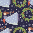 Christmas pattern with cartoon flying girls — Vektorgrafik