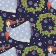 Christmas pattern with cartoon flying girls — Imagen vectorial