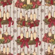 Stock vektor: Pattern with Christmas wreaths