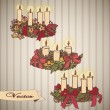 Cтоковый вектор: Illustration with Christmas wreaths
