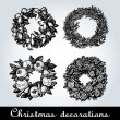 Set of Christmas wreaths — ストックベクタ