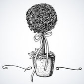 Black and white illustration of little tree in a vase — Vetorial Stock