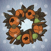 Christmas wreath with oranges — 图库矢量图片