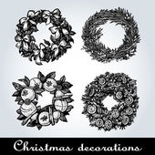 Set of Christmas wreaths — Stock Vector