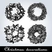 Set of Christmas wreaths — Stock Vector