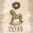 New Year and Christmas card with rocking toy horse — Stock Vector #34730583