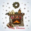 Christmas card with fireplace in retro styles — Stock Vector