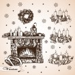 Stock Vector: Christmas set with fireplace and wreaths