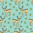 Blue pattern with Christmas deer — Stock Vector