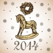 New Year and Christmas card with rocking toy horse — Stock Vector