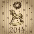 New Year and Christmas card with rocking toy horse — Stock Vector #34731067