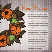 Christmas card with a wreath on a knitted background — Stockvektor