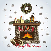 Christmas card with fireplace in retro styles — Vector de stock