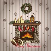Julkort med öppen spis i vintage stil — Stockvektor