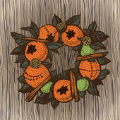 Christmas wreath with oranges on the wooden background — 图库矢量图片