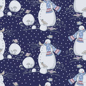 Christmas pattern with snowman and birds — Stockvektor