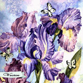 Vector watercolor irises with butterflies — Stock Vector