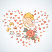 Scheda per il giorno di san valentino con mano disegno e acquerello — Vettoriale Stock