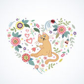 Romantic heart with cat and flower — Vector de stock