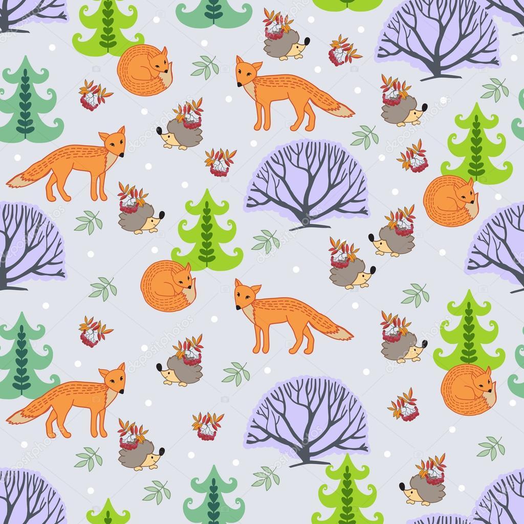 有趣的森林格局刺猬与狐狸 — 图库矢量图片 #37524045