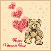 Cute bear with red hearts — Stockvector