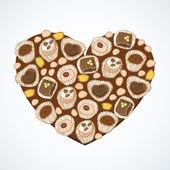 Heart shape, sweet cakes — Διανυσματικό Αρχείο