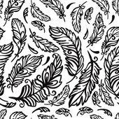 Coloration noire et blanche avec plumes — Vecteur