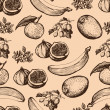 Hand drawn fruits seamless pattern — Stock Vector