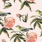 Watercolor pattern with birds and peonies — Stock Photo