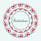 Invitation with a circular floral ornament. — Stock Vector