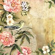 Vintage decorative watercolor background with bird and flowers — Stock Photo