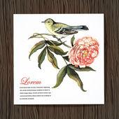 Kaart met vogel en bloem peony — Stockvector