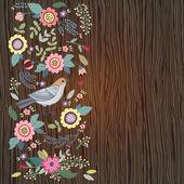 Vogel en bloemen op een houten achtergrond — Stockvector