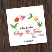 Uitnodiging voor bruiloft met aquarel tulpen — Stockvector