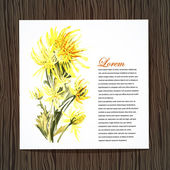 Kaart met aquarel chrysant — Stockvector