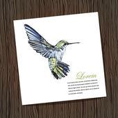 Kaart met aquarel kolibrie — Stockvector