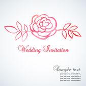 Uitnodiging met roos aquarel — Stockvector
