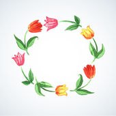 Wreath with watercolor tulips — Stock Vector