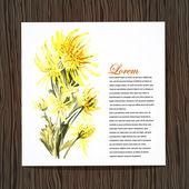 Karta s akvarel chrysanthem — Stock vektor