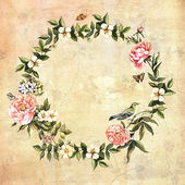 Background with floral wreath and bird — Stock Photo