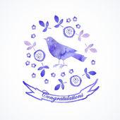 Card watercolor  with  bird. — Stock Vector