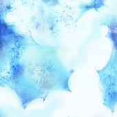 Abstract watercolor background with blue clouds — Stock Photo