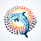 Hand-painted dolphin — Stock Vector