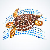 Sea Turtle Hand Painted — Stock Vector