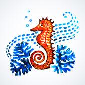 Hand Painted Seahorse. — Stok Vektör