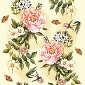 Vintage pattern with watercolor flowers — 图库照片