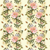 Vintage decorative pattern with watercolor flowers — ストック写真
