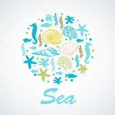 Illustration with sea motifs. — Stock Vector