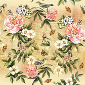 Watercolor  flowers and birds — Stock Photo